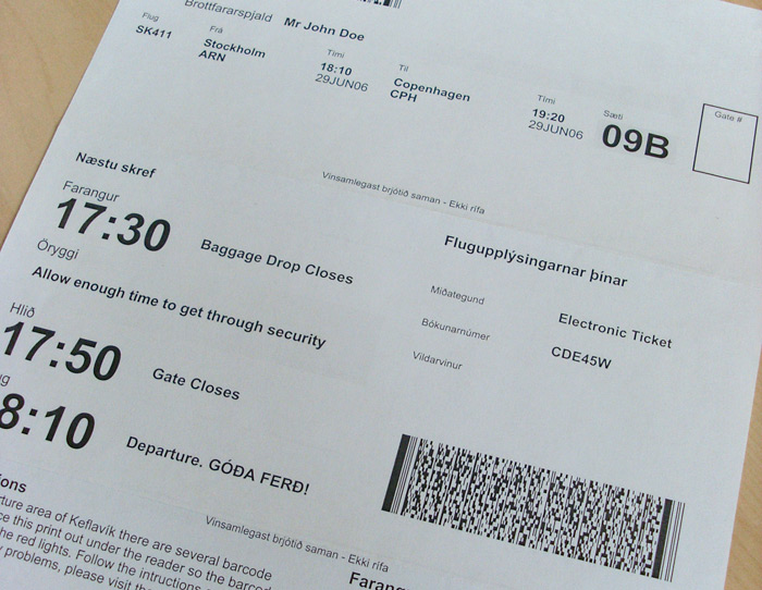PaperNet Boarding Pass « optional is/required