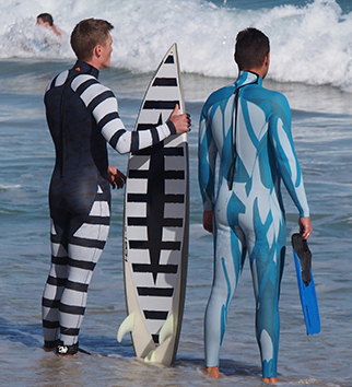 Shark Mitigation Suits on the Beach