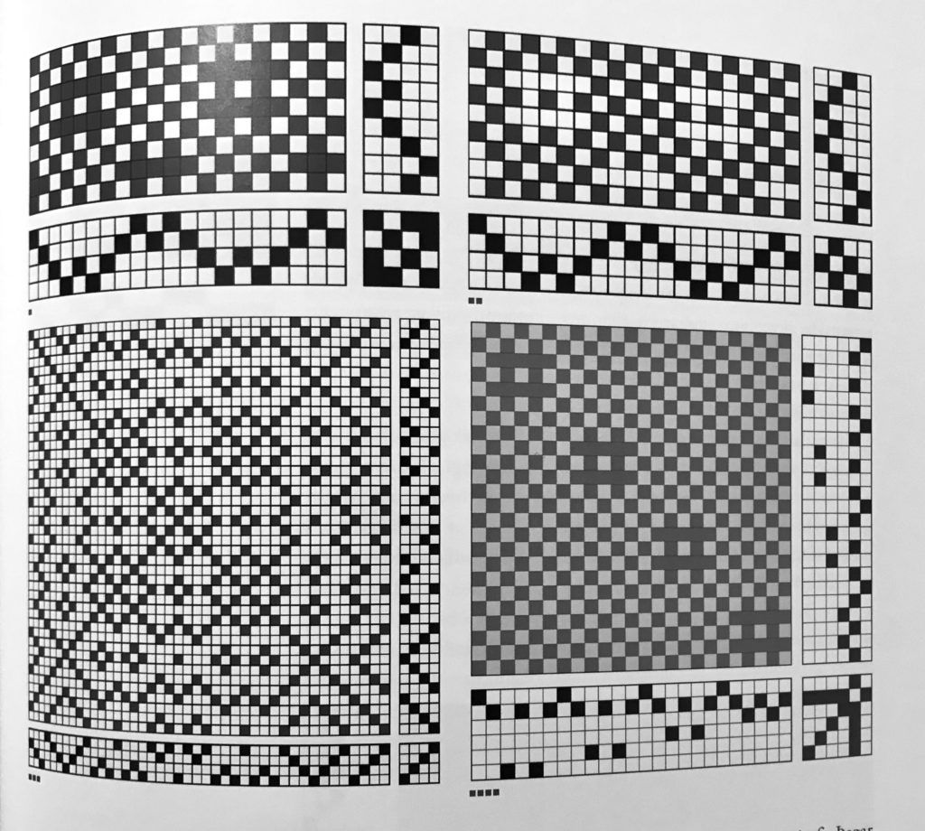 A Page from the book showing four weaving patterns.