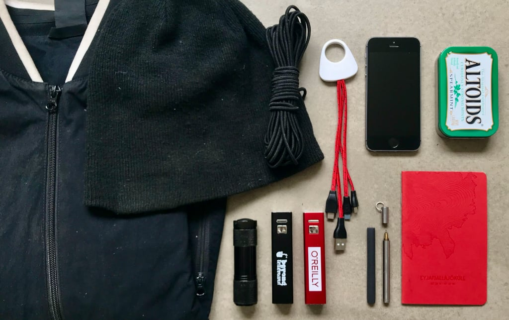 Modern Shinobi Rokugu: Jacket, hat, cord, dongles, flashlight/laser, batteries, phone, repurposed first-aid tin, chalk, pen, notebook