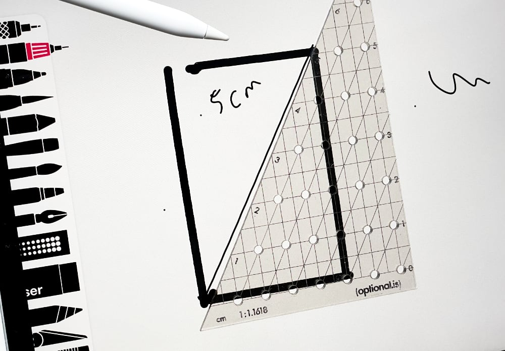 Analog Golden Ratio Ruler with a digital stylus